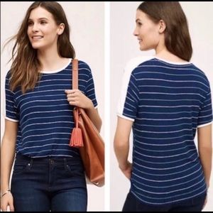 Anthropologie Postage Stamp Blue Striped Tee XS